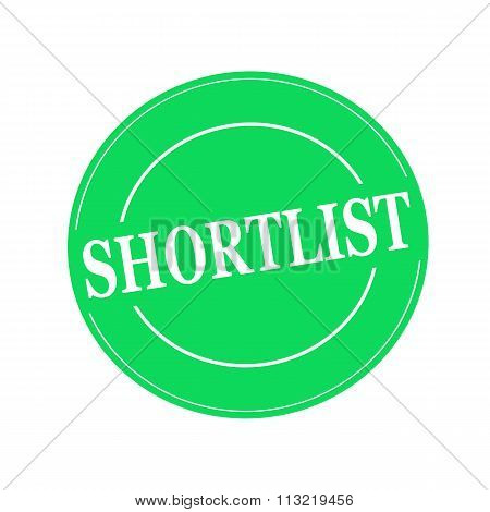Shortlist White Stamp Text On Circle On Green Background