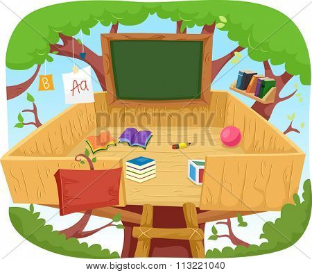 Illustration of a Cute Treehouse Classroom Cluttered with Educational Materials