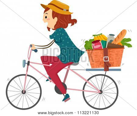 Illustration of a Woman on a Bike Returning from Grocery Shopping