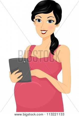 Illustration of a Pregnant Woman Browsing the Internet with Her Tablet