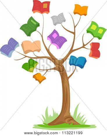 Illustration of a Tree with Colorful Books for Branches