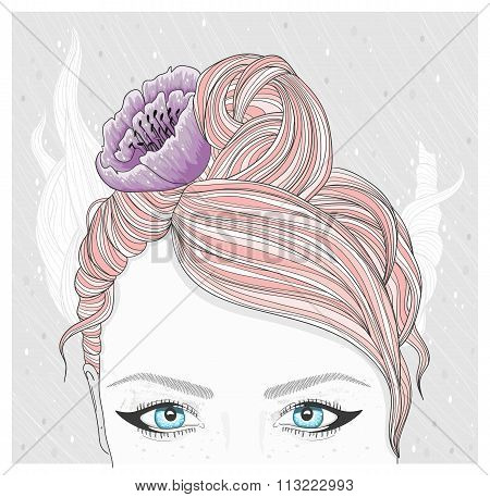 Young Girl With Flower In Her Hair. Fashion Illustration.