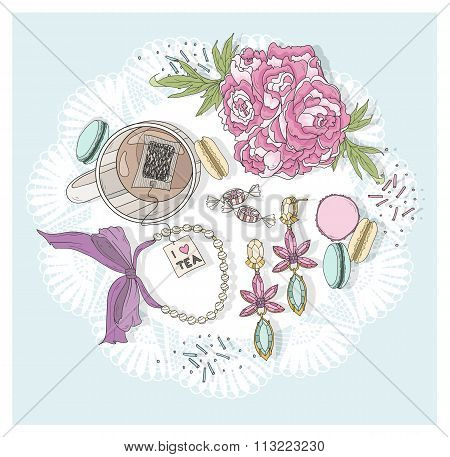 Cute Background With Cup Of Tea, Flowers, Macaroons And Jewelry.