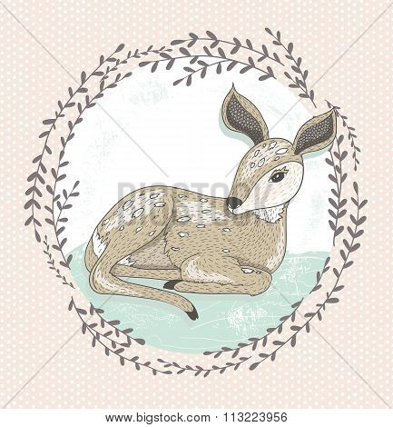 Cute Little Deer Illustration.