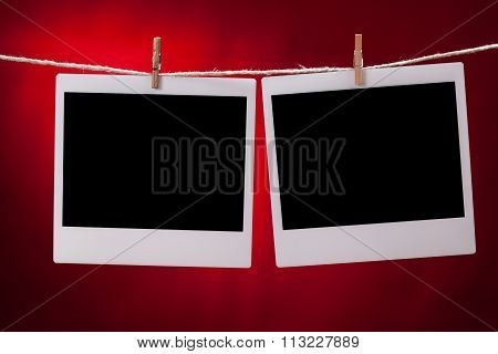 Blank Photo Frames On Red Background