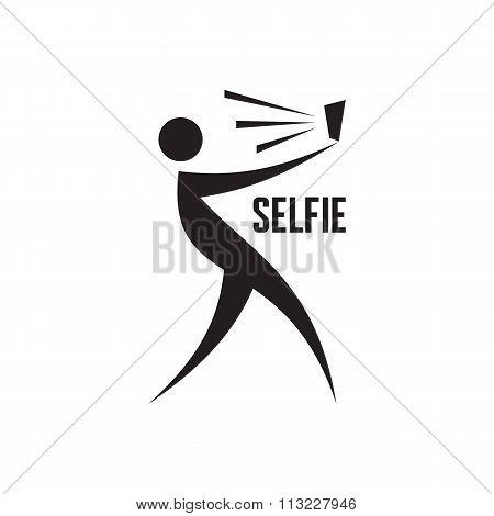 Selfie vector logo. Selfie vector sign. Selfie graphic illustration. Self portrait concept.