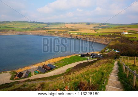 Coast path Kimmeridge Bay east of Lulworth Cove on the Dorset coast England uk