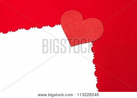 Colorful  Red Paper Heart On Vintage White Paper