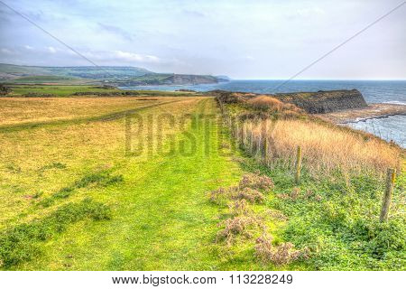 Coast path Kimmeridge Bay east of Lulworth Cove on the Dorset coast England uk in colourful HDR