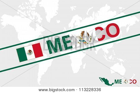 Mexico Map Flag And Text Illustration