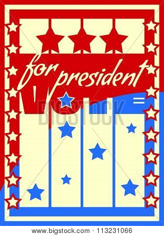 Vote For President Text On Backdrop From Usa Flag Elements