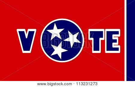 Vote Text On Tennessee State Flag Backdrop