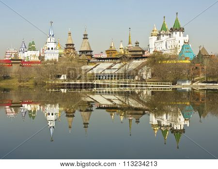 MOSCOW - APRIL 19 2014: cultural-entertainment centre Kremlin in Izmaylovo includes vernisage of arts and crafts and different museums has been built in 2007.