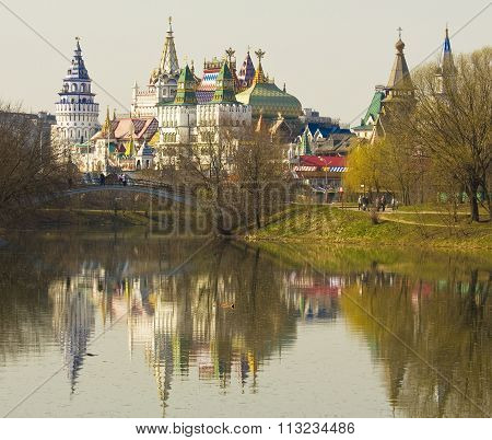 MOSCOW - APRIL 19 2014: cultural-entertainment centre Kremlin in Izmaylovo has been built in 2007.