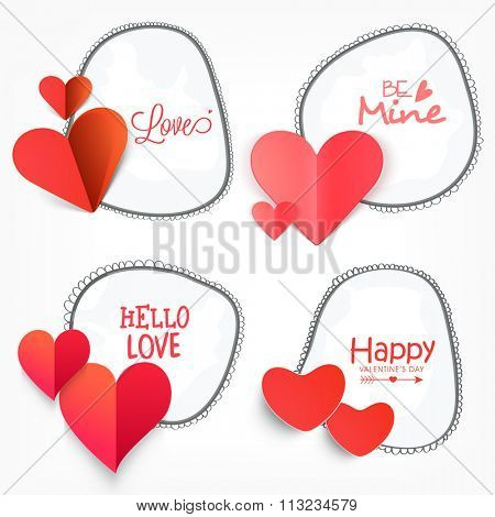 Set of sticker, tag or label design decorated with different compliments and glossy hearts for Happy Valentine's Day celebration.