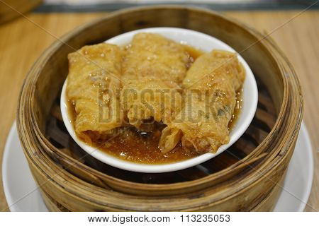 Dimsum In The Steam Basket . Chinese Dimsum Bamboo Steamer