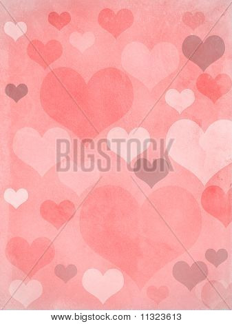 Valentines Hearts Pink Grungy