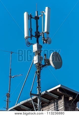 Gsm Radio Satellite Antenna On A Mountain House