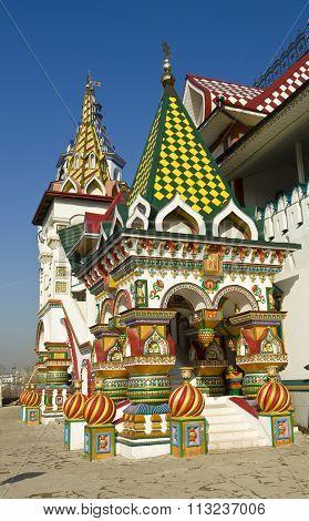 MOSCOW - MARCH 25, 2014: Izmaylovsky Kremlin (Kremlin in Izmaylovo) - vernisage of arts and crafts, built in 2007.