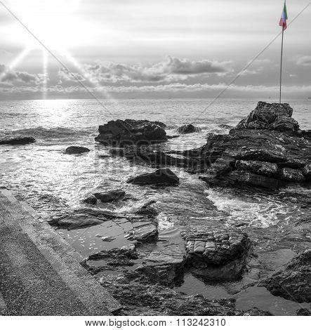 Quarto dei Mille, Genoa. Black and white photo