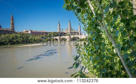 El Pilar basilica and the Ebro River