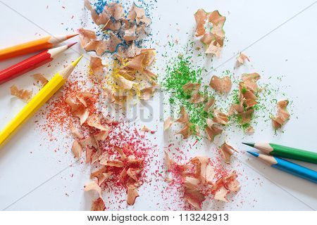 Colorful Pencil Sharpener  And Colorful Pencils On White Background