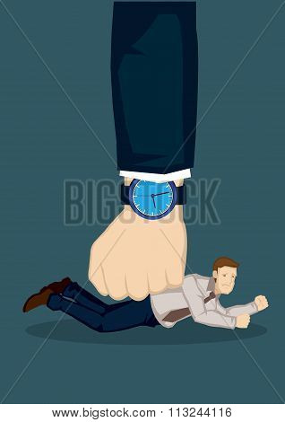 Small Businessman Defeated By Bigger Force Vector Illustration
