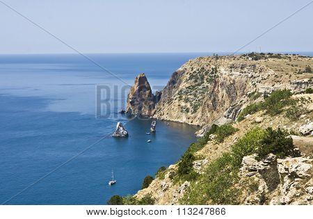 Sea landscape recorded in place Fiolent in region Crimea on Black sea.