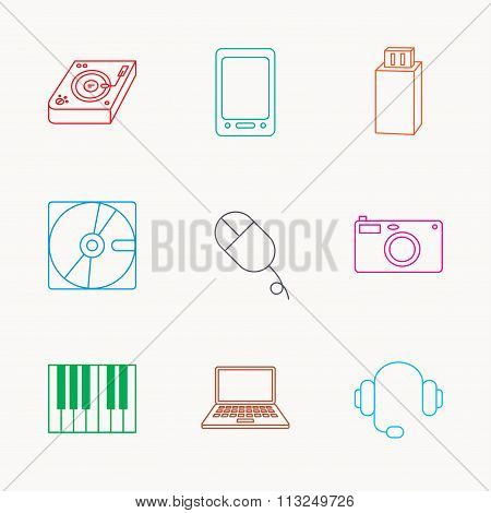 Tablet PC, USB flash and notebook laptop icons. Club music, hard disk and photo camera linear signs. Piano, headphones icons. Linear colored icons. poster