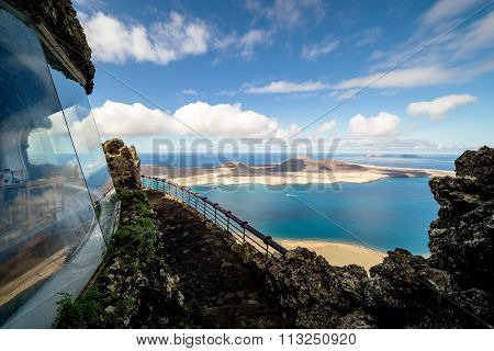 Mirador Del Rio, Spain - November 4 2015: view towards La Graciosa