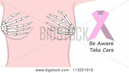 Woman breast with sleleton hands on it