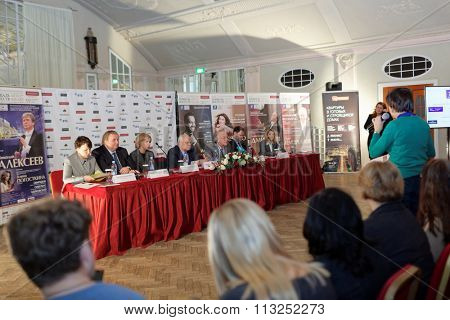 ST. PETERSBURG, RUSSIA - DECEMBER 7, 2015: Press conference devoted to opening of the festival