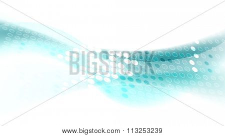 Turquoise waves with shiny halftone circles on white background. Vector flow blue wavy graphic design