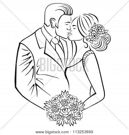 Newlyweds. Couple with wedding bouquet.