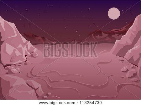 Uninhabited planet in space. Martian night