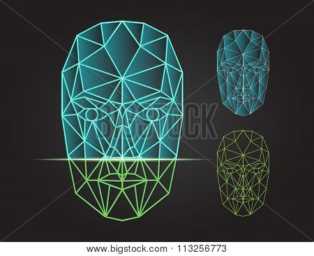 Face recognition and scanning - biometric security system. Vector illustration