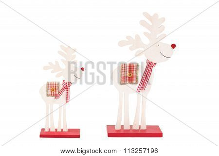 Two Reindeers Over White Background