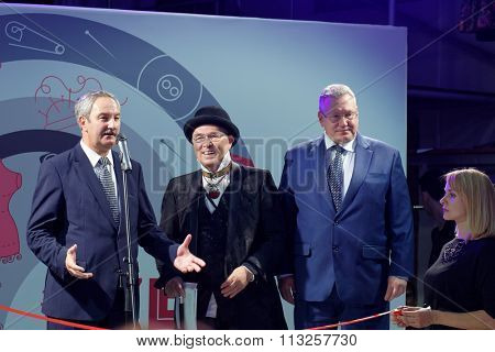 ST. PETERSBURG, RUSSIA - SEPTEMBER 14, 2015: Fashion designer Vyacheslav Zaitsev (center) and Elgiz Kachaev from city government (left) and during the opening ceremony of the project