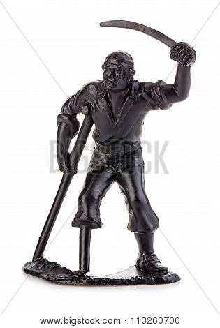 Angry Pirate Legless On Crutches With A Saber. Miniature Figurine Of A Children's Toy.