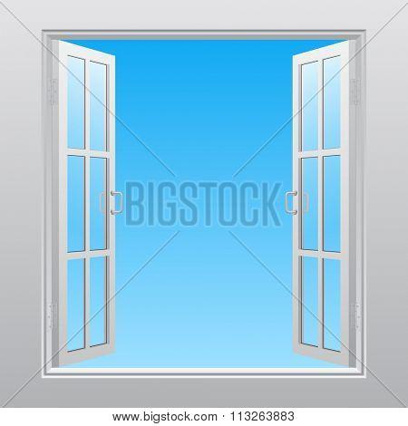 White double window into sky open outwardly. Concept design