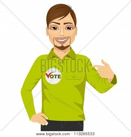 portrait of young hipster student council candidate promoting himself isolated on white background poster