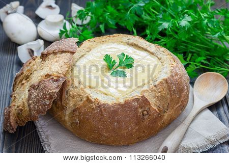 Homemade Mushroom Cream Soup, Served In Bread Bowl