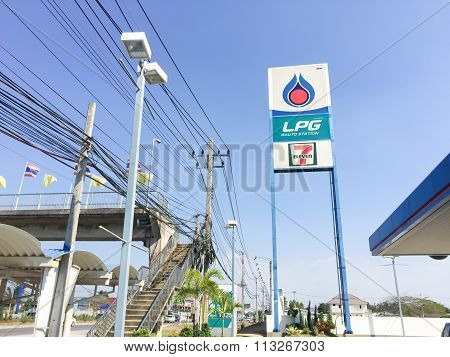 Bangkok, Thailand - January 2 : Ptt Lpg Gas Station Sign In Blue Sky Backgound On January 2, 2016 In