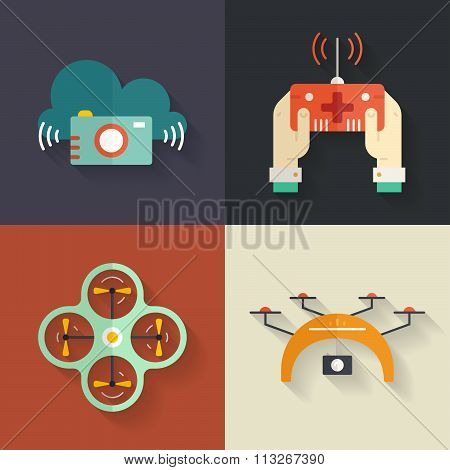 Drone Flat Icons