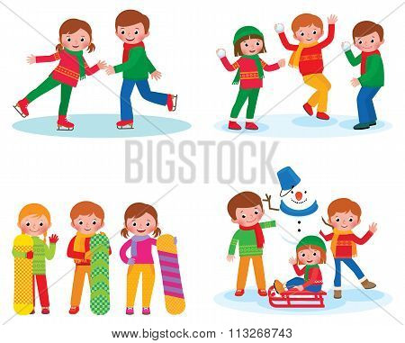 Set For Children Winter Activities