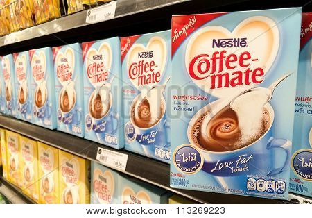 Bangkok, Thailand - November 11, 2015: Nestle Coffee-mate Low Fat On Shelf In Supermarket. Coffee-ma