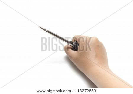 Left Hand Holding Screwdriver