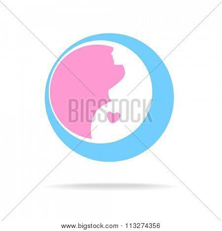 Pregnant sign - vector template. Idea for logo.   Pregnant woman,  pregnancy,    pregnant belly,  mother.