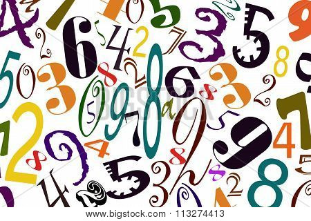 The background of numbers of different types of fonts .