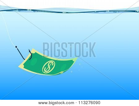 background fishing money, vector
